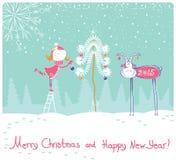 Trevlig illustration för kort för lyckligt nytt år för vektor Fotografering för Bildbyråer
