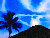 Trevlig målning av en Hawaii vulkan Arkivfoto