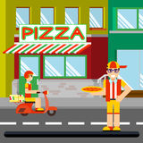 Trevlig mat-deliveryboy med askar av pizza Fotografering för Bildbyråer