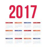 Trevlig och enkel färgrik kalender 2017 vektor illustrationer