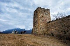 Trevlig panoramautsikt av fästningen och kyrkan Ananuri som står Royaltyfria Bilder