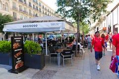 Trevlig restaurang i Barcelona Arkivfoto