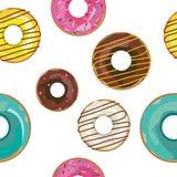 Trevlig sömlös modell för vektor med färgrika donuts royaltyfri illustrationer
