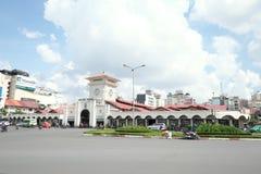 Trevlig sikt av Ben Thanh Market Arkivfoto