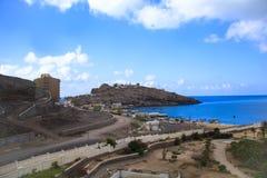 Trevlig sikt av golfen av Aden i Yemen Arkivfoto