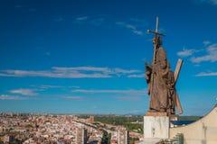 Trevlig sikt av Madrid Spanien horisont royaltyfri fotografi