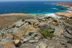 Trevlig sikt av någon kust för Aruba ` s Arkivbild