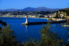 Trevlig sikt från sidan av fyren, Côte d'Azur Arkivbild