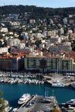 trevlig sikt för stadsfrance hamn Arkivfoto