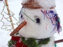 Trevlig snögubbe med moroten och julgranen Royaltyfri Fotografi