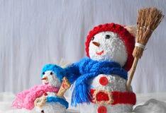 Trevlig snögubbe två Arkivbilder