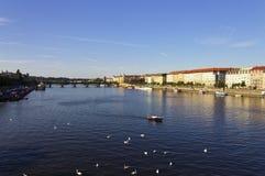 Trevlig sommardag i Prague med den Vltava floden, i att flöda till och med staden Royaltyfri Bild
