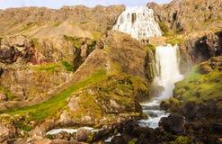 Trevlig sommarsikt av den Dynjandifoss Dynjandi vattenfallet, juvlar av Westfjordsen, Island Den största vattenfallet i Westfjord Royaltyfria Bilder