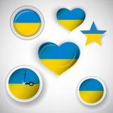 Trevlig symbolsuppsättning av den ukrainska flaggan Royaltyfri Fotografi