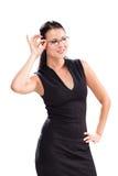 Trevlig ung kvinna med exponeringsglas Fotografering för Bildbyråer