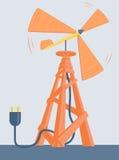 Trevlig väderkvarn med den elektriska proppen Arkivfoto