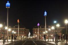 trevliga france Massena fyrkant i natten Fotografering för Bildbyråer
