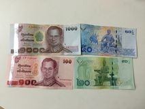 Trevliga nya anmärkningar för Thailand pengar Arkivbild