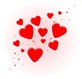 Trevliga röda hjärtor för valentindag Royaltyfria Foton