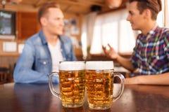 Trevliga vänner som dricker öl Royaltyfri Foto