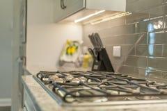 Trevligt djup för rostfritt stålkökugn av fältfokusen på knoppar och laga matplattor arkivfoton