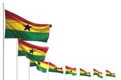 Trevligt förlade många Ghana flaggor diagonalt som isolerades på vit med utrymme för innehållet - någon illustration för feriefla vektor illustrationer