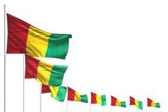 Trevligt förlade många Guinea flaggor diagonalt som isolerades på vit med stället för text - någon illustration för berömflagga 3 vektor illustrationer