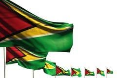 Trevligt förlade många Guyana flaggor diagonalt som isolerades på vit med stället för text - någon illustration för festmåltidfla vektor illustrationer