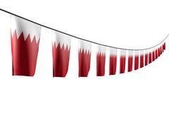 Trevligt hänger många Bahrain flaggor eller baner diagonalt med perspektivsikt på rad som isoleras på vit - någon berömflagga 3d royaltyfri illustrationer