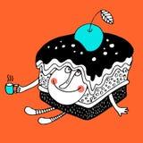 Trevligt komiskt tecknad filmtecken av kakan royaltyfri illustrationer