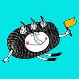 Trevligt komiskt tecknad filmtecken av nisset stock illustrationer