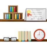 Trevligt kontor med skrivbordet och bokhyllan stock illustrationer