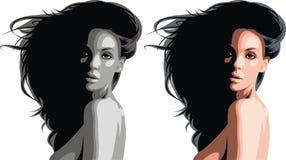 Trevligt kvinnahuvud vektor illustrationer