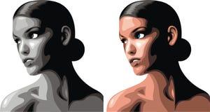 Trevligt kvinnahuvud stock illustrationer
