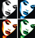 Trevligt kvinnahuvud i fyra färger vektor illustrationer