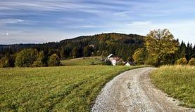 Trevligt landskap av den easternmost delen av Tjeckien Arkivbild