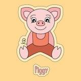 Trevligt piggy, tecknad filmklistermärke, roligt djur, teckning för barn` s, kort stock illustrationer
