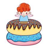 Trevligt pojkebarn med söta donuts vektor illustrationer