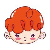Trevligt pojkehuvud med lockigt hår vektor illustrationer
