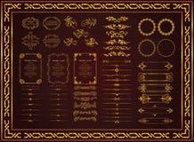 Trevligt retro blom- snör åt guld- färg för modell vektor illustrationer