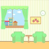 Trevligt rum med ett fönster Royaltyfri Illustrationer