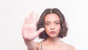 Trevligt tecken för flickavisningstopp arkivfilmer