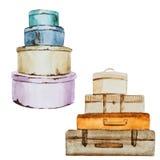Trevligt vattenfärgbagage stock illustrationer