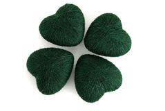 trevo 4leaf dado forma por clews verdes Imagens de Stock