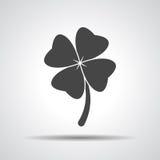 Trevo com ícone do sinal de quatro folhas Imagem de Stock Royalty Free