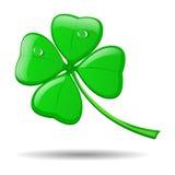 Trevo de quatro folhas no branco para St Patrick Imagem de Stock Royalty Free