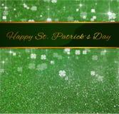 Trevo do brilho do cumprimento do dia de St Patrick Fotografia de Stock