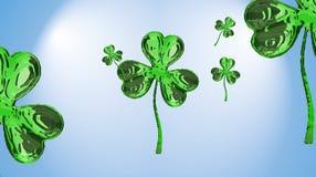 Trevo do efeito do dia 3d de St Patrick sobre o fundo do espaço Cumprimento decorativo sujo ou cartão Bandeira simples para o loc Fotografia de Stock