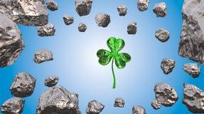 Trevo do efeito do dia 3d de St Patrick sobre o fundo do espaço e o campo asteroide Cartão decorativo do cumprimento Bandeira sim Imagens de Stock