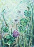 Trevo e dente-de-leão Plantas de florescência do prado da mola Foto de Stock